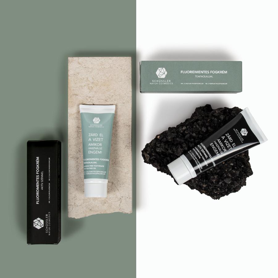 Schüssler natúr fogkrém aktív szénnel és teafaolajjal
